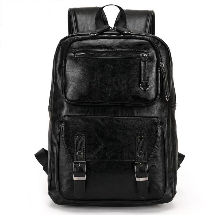 Black POLO Male Leather Backpack,